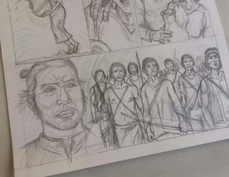 esboço de página de quadrinhos